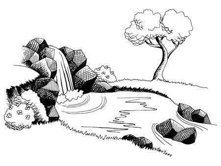Illustration pour Source waterfall graphic art black white landscape illustration vector - image libre de droit