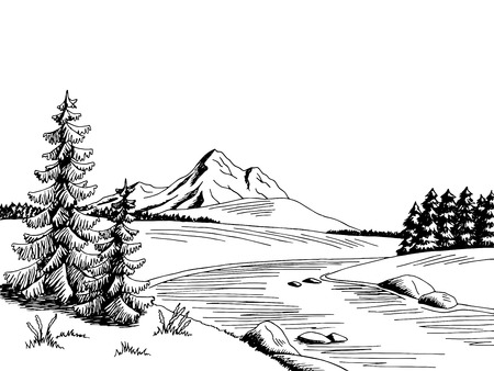 Ilustración de Mountain river graphic art black white landscape sketch illustration vector - Imagen libre de derechos
