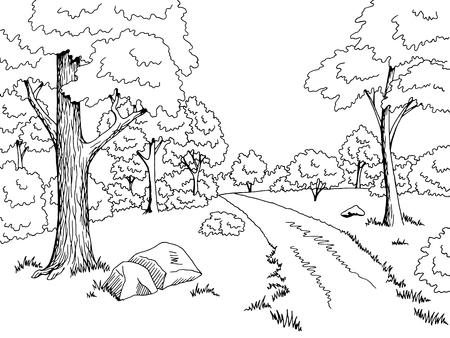 Illustration pour Forest road graphic art black white landscape sketch illustration vector - image libre de droit