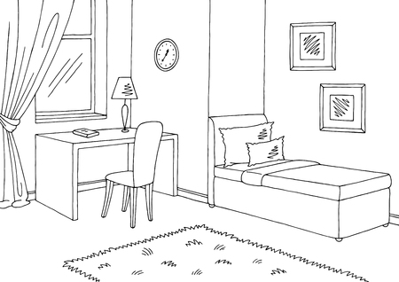 Illustration pour Children room graphic black white interior sketch illustration vector - image libre de droit