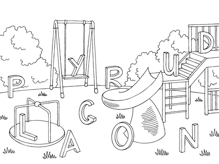Ilustración de Playground outline illustration - Imagen libre de derechos