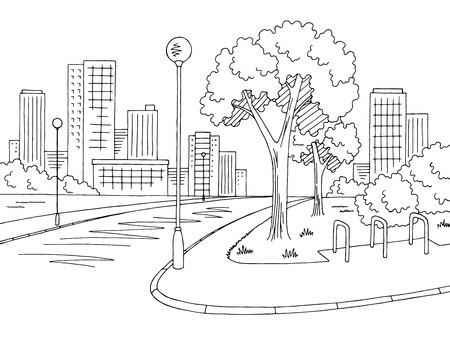 Illustration pour Street road graphic black and white city landscape sketch illustration vector - image libre de droit