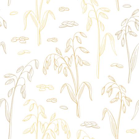 Ilustración de Oat plant graphic color seamless pattern background sketch illustration vector - Imagen libre de derechos
