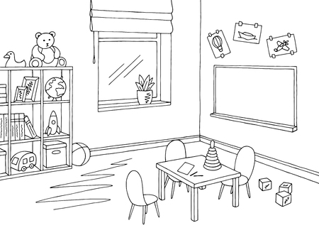Illustration pour Preschool classroom graphic black and white interior sketch illustration vector - image libre de droit