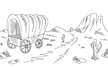 Illustration pour Prairie covered wagon graphic black white American desert sketch landscape illustration vector - image libre de droit
