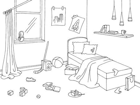 Ilustración de Mess children room graphic black white interior sketch illustration vector - Imagen libre de derechos