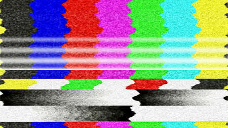 Photo for Retro TV color bars with TV snow and interference. - Royalty Free Image