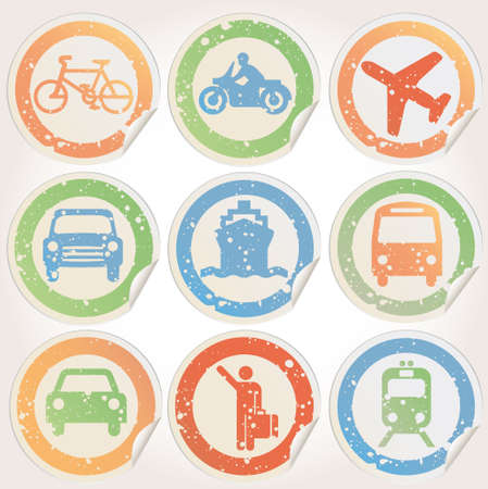 Stickers grunge with transportation images