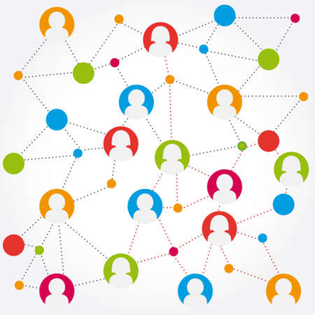 Illustration for colorful social media connection stock - Royalty Free Image