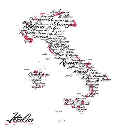 Illustrazione per Italy map with city names - Immagini Royalty Free