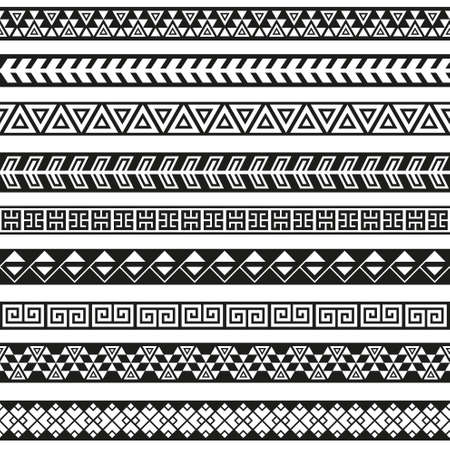 Foto de Seamless vector tribal borders. Tribal vintage ethnic seamless backdrop. Boho fashion style pattern - Imagen libre de derechos