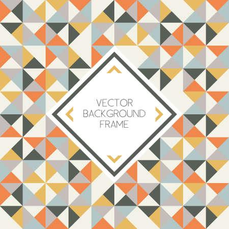 Ilustración de Background of geometric triangle shapes pattern with frame - Imagen libre de derechos