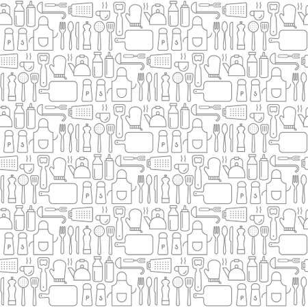 Illustration pour Seamless background pattern of Kitchen Cooking utensil icons - image libre de droit