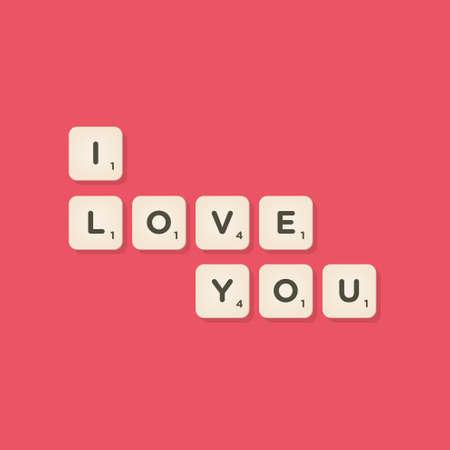 Ilustración de Love message written with tiles - Imagen libre de derechos