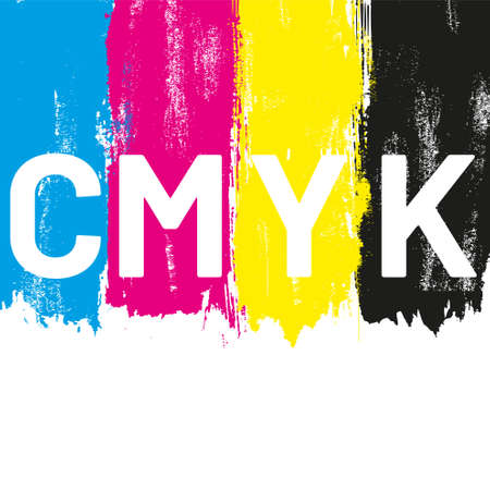 Illustration for CMYK colored brush strokes vector illustration - Royalty Free Image