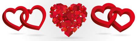 Ilustración de Heart 3d geometric. Isometric illustration vector. - Imagen libre de derechos