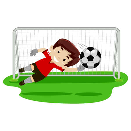 Illustration pour Vector illustration of a goalkeeper Boy trying catching the ball on football gate - image libre de droit