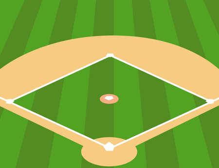 Illustration pour Vector Illustration of Baseball Field as Background - image libre de droit