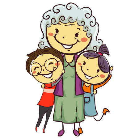 Illustration for Vector Illustration of Stick Kids with Grandma - Royalty Free Image