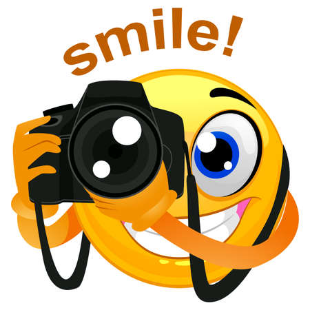 Illustration pour Vector Illustration of a Smiley Emoticon Photographer Holding a Digital Camera - image libre de droit