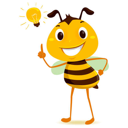 Illustration pour Vector Illustration of Bee with a light bulb on his head - image libre de droit