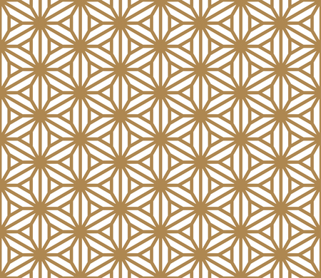 Illustration pour Seamless pattern based on Japanese ornament Kumiko.Golden color.Hexagon grid.Thick lines. - image libre de droit