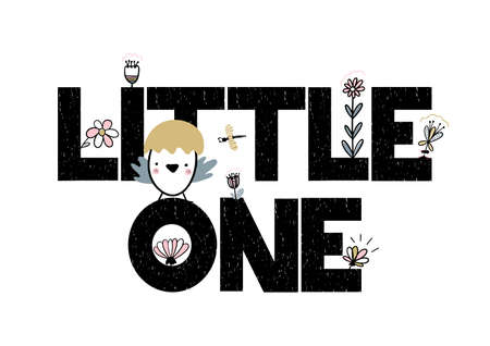 Illustration pour Card with lettering little one vector illustration isolated on white background with flowers and newborn nestling. - image libre de droit