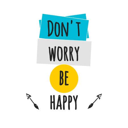 Ilustración de Card with lettering don't worry be happy. - Imagen libre de derechos