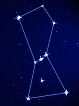 Illustration pour Orion constellation on the starry sky - image libre de droit
