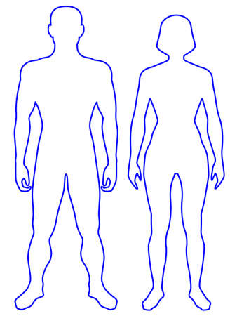 Ilustración de Illustration of the contour human body. Man and woman - Imagen libre de derechos