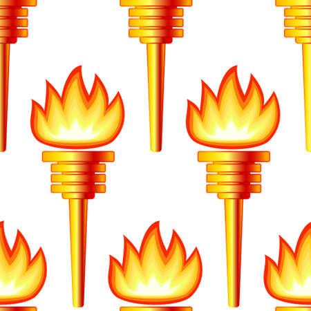 Ilustración de Seamless pattern of the abstract gold torch - Imagen libre de derechos