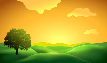 Illustration pour landscape background with tree silhouette - image libre de droit