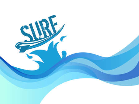 Ilustración de surf on wave background water waves vector design - Imagen libre de derechos