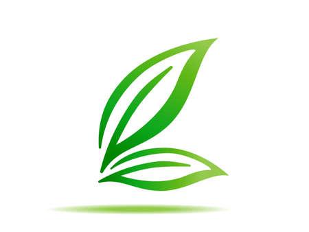 Illustration for gren leaf symbol sign vector icon - Royalty Free Image