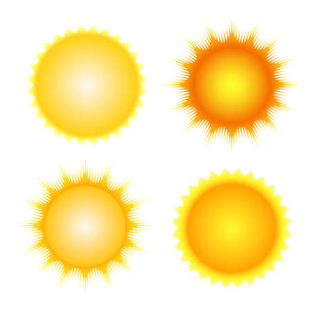 Ilustración de sun icon set vector orange and yellow sun symbols - Imagen libre de derechos