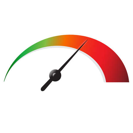 Illustration pour Speedometer icon or sign with arrow. Colorful Infographic gauge element. Vector illustration. - image libre de droit