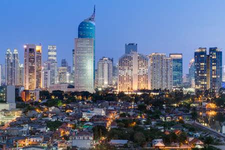 Foto de Jakarta downtown skyline with high-rise buildings at sunset - Imagen libre de derechos