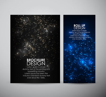 Brochure business design template or roll up. Abstract bokeh digital background. Vector illustration.