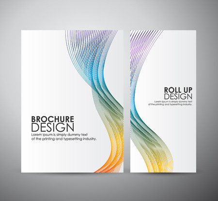 Foto de Brochure business design template or roll up. Abstract background with colorful waves. - Imagen libre de derechos