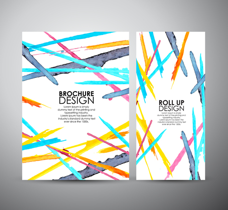 Ilustración de Abstract brochure Bright watercolor stains. business design template or roll up. Vector illustration - Imagen libre de derechos