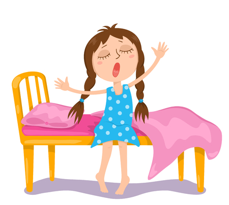 Illustration pour The cute girl wakes up. Vector cartoon illustration. Isolated on white. - image libre de droit