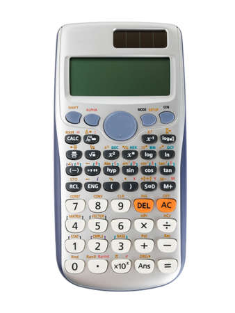 Foto de Scientific calculator isolated on white background with clipping path. - Imagen libre de derechos