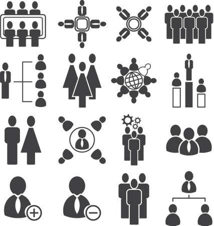 Ilustración de Population meeting icon, organization with society icon set,vector illustration. - Imagen libre de derechos