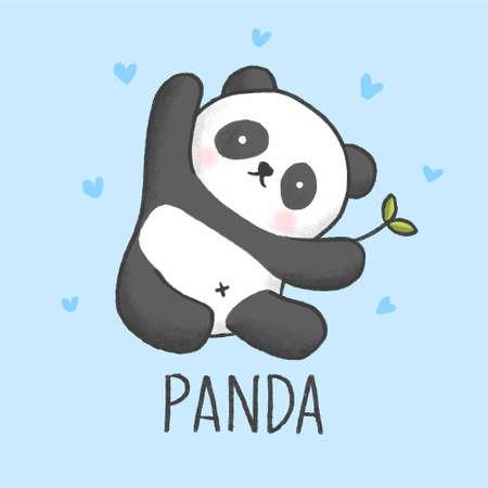 Ilustración de Cute Panda cartoon hand drawn style - Imagen libre de derechos