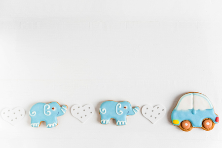 Photo for Background for a banner with elephants and car. Children banner. Frame for greeting card newborn boy. - Royalty Free Image