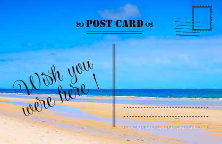 Photo pour Wish You Were Here summer vacation postcard with scenic ocean beach view - image libre de droit
