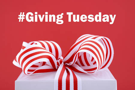Photo pour Red and white gift symbolic for Giving Tuesday with sample text on bright red and white background. - image libre de droit