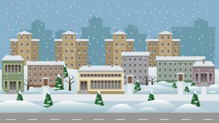 Illustration pour Winter cityscape cartoon background. Modern city landscape with houses and shop buildings in snow along a street, trees and walks.  Flat design style. Vector illustration - image libre de droit
