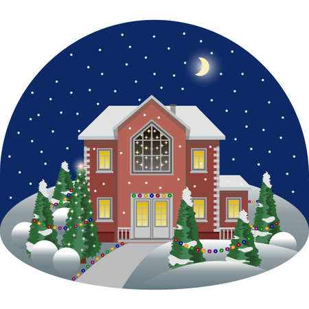 Illustration pour Family manor house in cartoon night winter landscape scene decorated for Christmas or New Year night. House and trees in snow, sidewalk, colorful fires.  Vector illustration, flat design style - image libre de droit