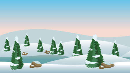 Illustration pour Vector winter landscape for cartoon or game scene background. Snow, conifer trees and cold river. Vector illustration, horizontally seamless. - image libre de droit